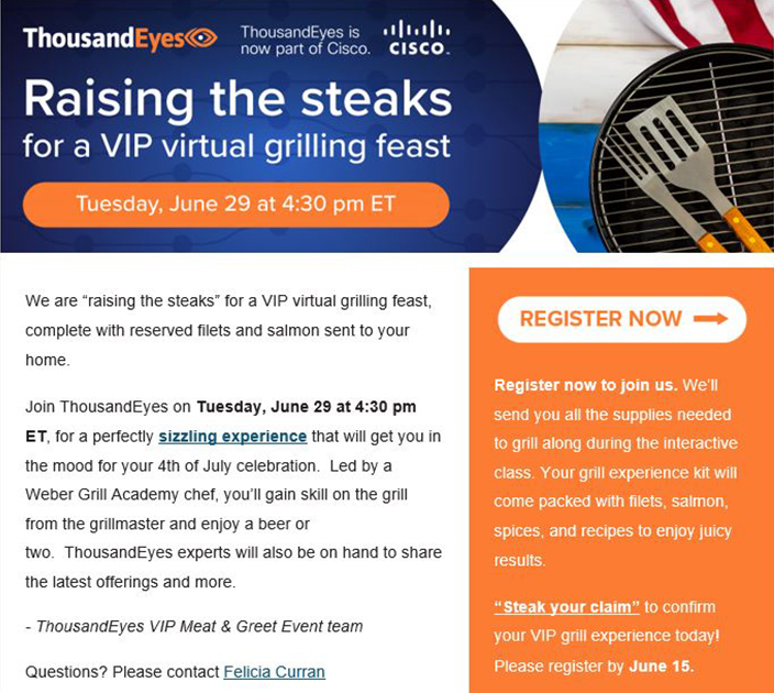 Thousand Eyes: Customer loyalty raising the steaks grilling event
